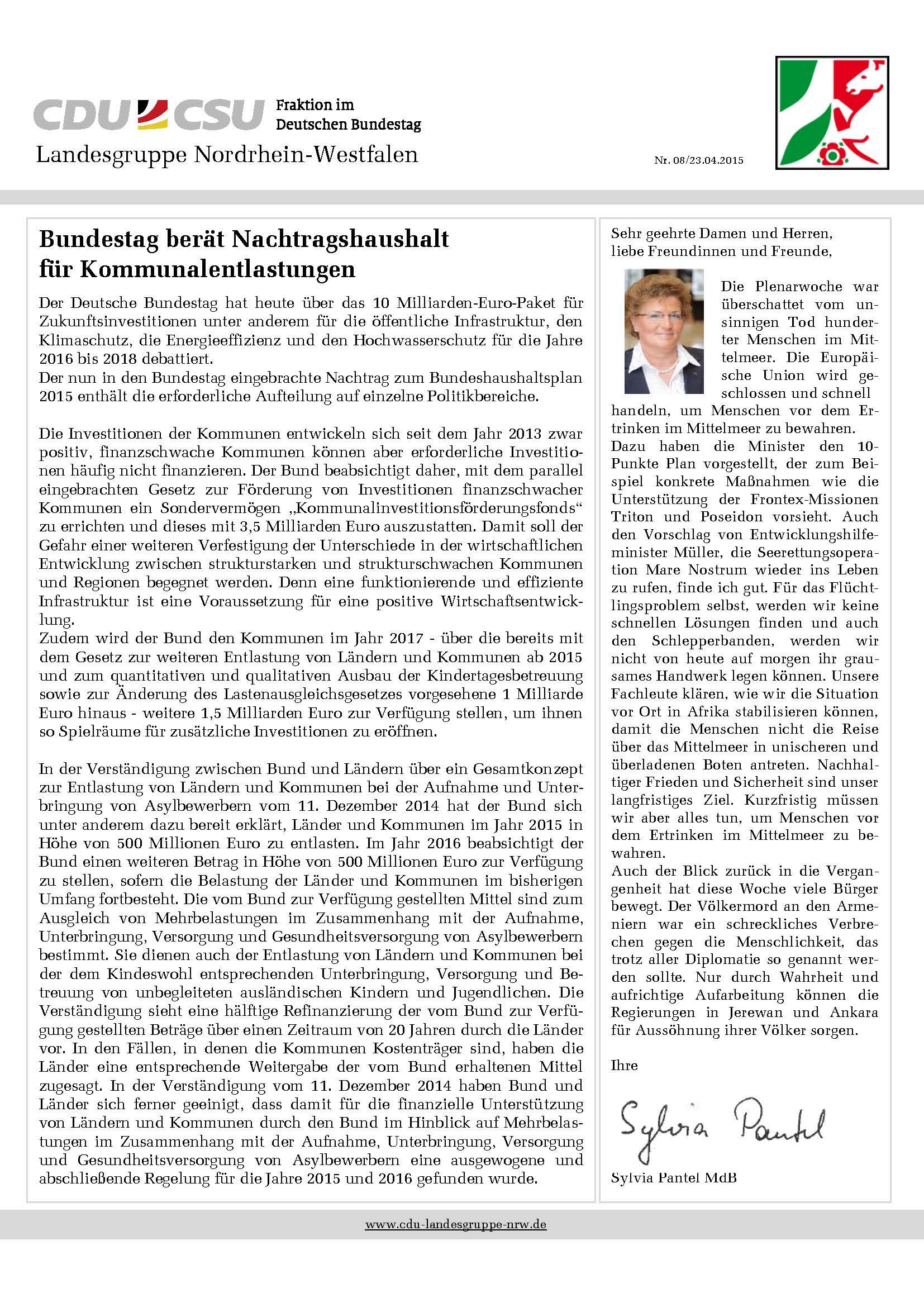 CDU-Landesgruppe NRW informiert 0815 Pantel MdB_Seite_1